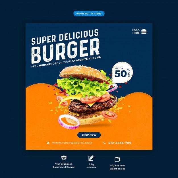 Fast Food Burger Social Media Banner Template Premium Psd Social Media Banner Food Graphic Design Food Advertising