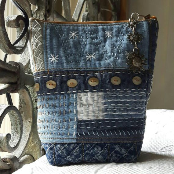 Check out this item in my Etsy shop https://www.etsy.com/ca/listing/507008248/hand-quilted-denim-case-sashiko-pouch
