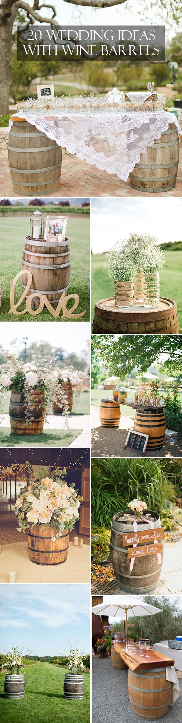 Great ways to use wine barrels for country rustic wedding.