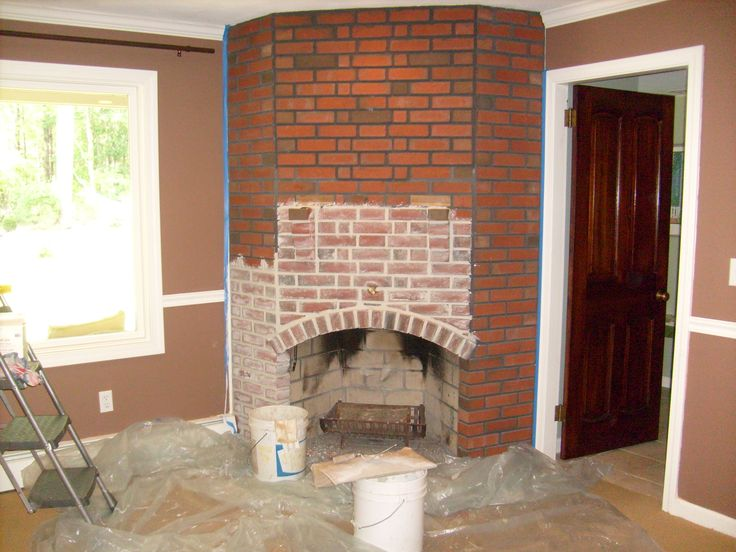Step by step woodstove in the corner brick - Tiling a brick fireplace ...