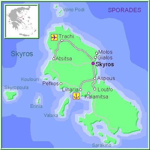Mapa de la isla de Alonissos, en las Islas Griegas Espóradas, Cýcladas, Grecia.