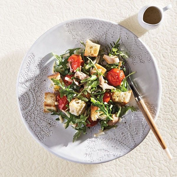 This leafy roasted chicken salad recipe takes less than 10 minutes to make. Get the recipe at Chatelaine.com.