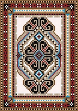 Oriental design in the frame for carpet