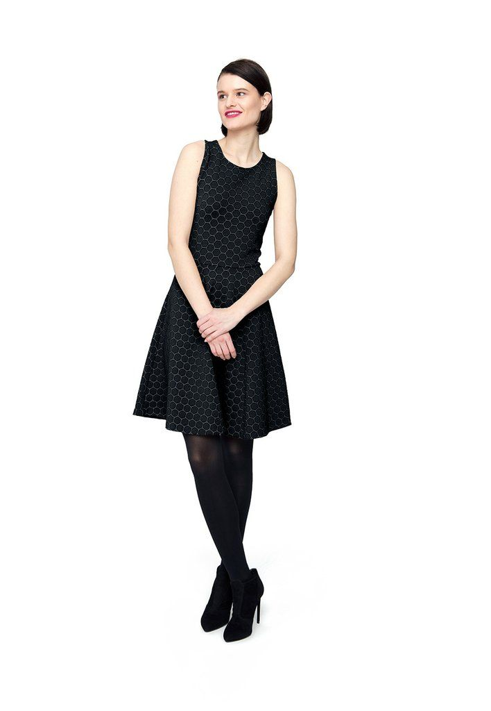 Ava Dress in Black Cameo Cloth
