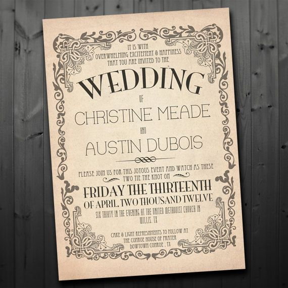 Printable Vintage Inspired Wedding Invitation by FancyBeastDesigns, $20.00