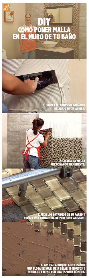 DIY: Cómo poner malla en tu baño. Renueva tu baño colocando malla de vidrio como fachada de una pared completa o elige un área que desees acentuar. ¡Haz clic y ve el video completo!