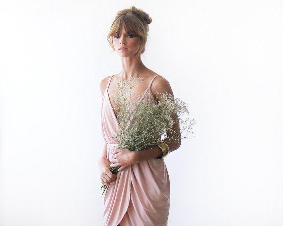 Wrap mini bridesmaids dress Mini pink formal gown by BLUSHFASHION
