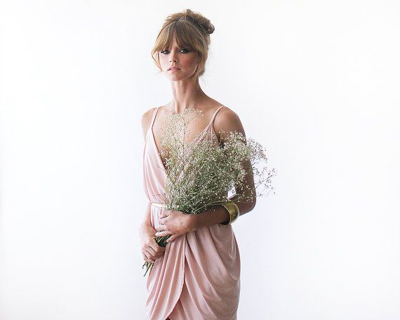 Bridesmaids dress in grey- they can choose whether they want short or long
