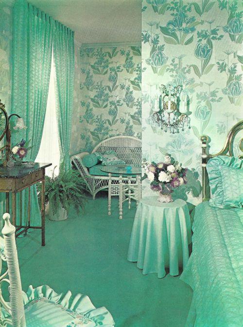 appealing blue green bedroom decor | turquoise bedroom, vintage, retro, interior, interior ...
