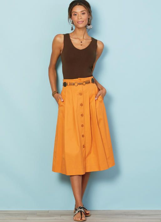 6160ba04946 M7906 Misses  Belted and Button-Front Skirts Very full pleated skirts are  worn 2