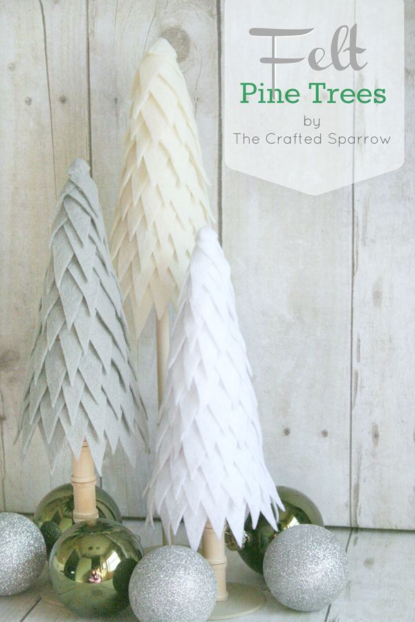 These simple and easy to make Felt Pine Trees are the perfect addition to your holiday decor, you can customize them to any color you want.