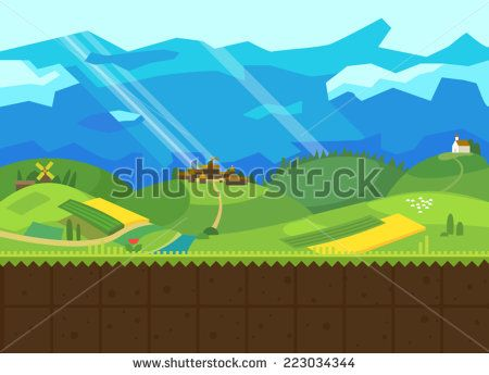 Hills and Valley. Vector flat background for the game. Seamless texture - stock vector