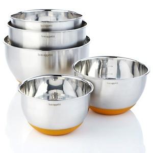 Bon Appétit 5-piece Stainless Steel Mixing Bowl Set at HSN.com.