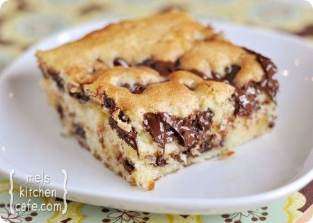 """Chocolate Chip Cake. """"This cake is perfect because not only does it taste delicious, but it is shockingly easy to throw together...Perfect all by its lonesome or with a heaping scoop of vanilla ice cream – this cake is wonderful!"""""""