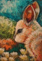 Art: SPRING BUNNY RABBIT IN MY GARDEN by Artist Cyra R. Cancel