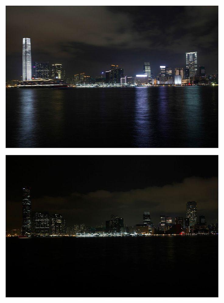 El puerto de Hong Kong. Apagón mundial en la Hora del Planeta.