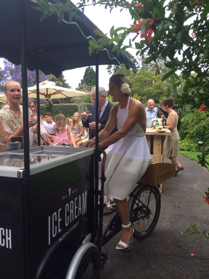 Our first wedding booking yesterday for the ice cream cart in Melbourne's Botanical Gardens was a hit.  Happy faces and a very cool bride holding court on the trike. Fun times.  ~ Scott