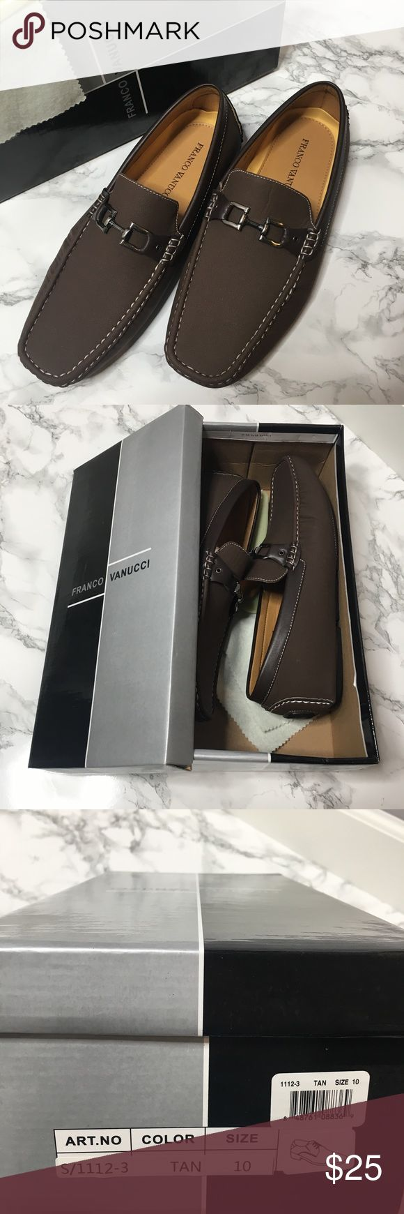 Franco Vanucci Brown Loafers. Brand new Franco Vanucci Brown Loafer slip ons with silver clasp detail.  Still in box with fresh leather smell. (Box is pictured wrong, I don't know why ha) Franco Vanucci Shoes Loafers & Slip-Ons