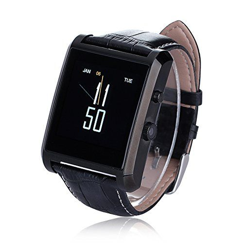 LEMFO® Bluetooth Smart Watch Waterproof Wrist Phone Mate Smartwartch for Android and IOS Cell Phones - With Camera IPS Screen 360mAh Battery Leather Strap (Black) - http://21stmobile.com/smart-watches/lemfo-bluetooth-smart-watch-waterproof-wrist-phone-mate-smartwartch-for-android-and-ios-cell-phones-with-camera-ips-screen-360mah-battery-leather-strap-black/