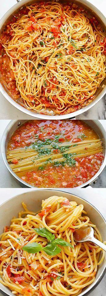 One-Pan-Pasta – die Spaghetti werden mit allen Zutaten in der Pfanne gekocht. Also …