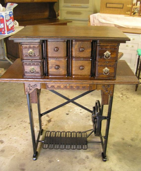 Repurposed sewing machine leg table with 8 by NuRefurbishRepurpose, $365.00