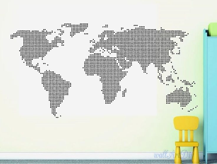 Giant world map wall decal Map wall stencils Abstract world map mural Dotted world map wall stencil White map wall sticker Modern wall decal by WallArtDIY on Etsy https://www.etsy.com/listing/206378477/giant-world-map-wall-decal-map-wall