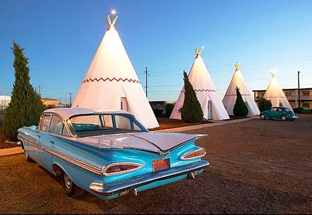 When the Hubs and I have a million weeks of vacation, we'll take a cross country road trip and stay at the Wigwam Hotel in Arizona.