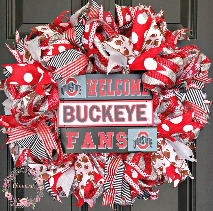 Ohio State Buckeye Wreath Deco Mesh, Welcome Buckeye Fans, Creation by Charmed Home Accents. www.etsy.com/shop/charmedhomeaccents