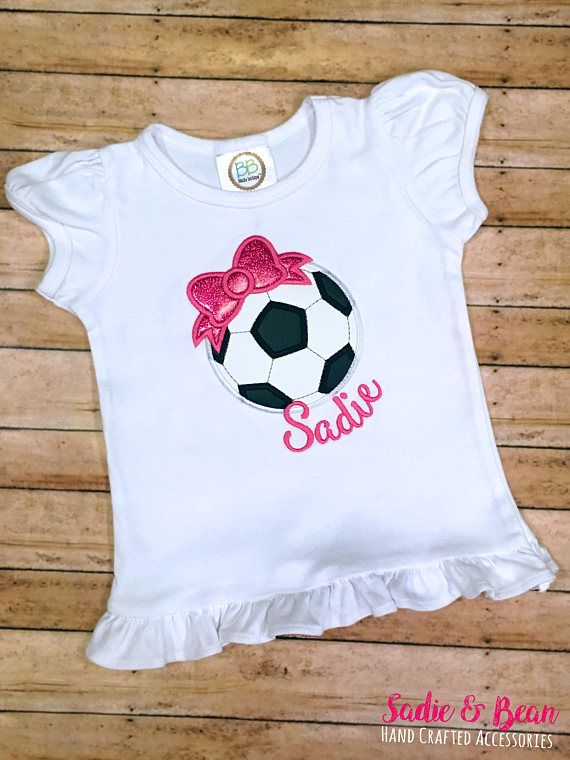 TAGS: Girls Soccer Shirt, Soccer Ball Shirt, Girls Soccer Ball With Bow Shirt, Girls Soccer T Shirt, Girls soccer ball shirt, personalized soccer  KICK LIKE A GIRL! This listing is for a soccer shirt or bodysuit. Want to add a name? No problem! This would be perfect for your little super star!  We use 6.0 oz 100% combed cotton embroidery blank for our childrens shirts for the best quality and availability. Please see picture for color and style options.  Sizes: - Bodysuits for babies start…