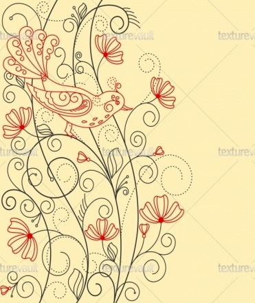 Royalty Free Texture of Abstract floral background with bird - Texturevault.net