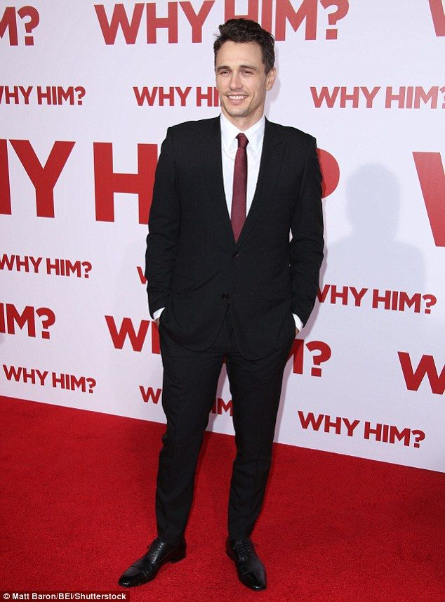 Heartthrob:James Franco, 38, looked dashing as ever in a classic black suit, black patent leather oxfords and burgundy tie and white shirt combination