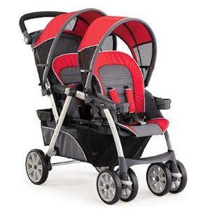 Chicco Cortina Together Double Stroller, Fuego. A great stroller for a newborn and toddler...it is pretty light and the carrier is approved for lower birth weight babies