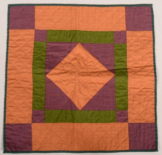 Amish Diamond In Square Doll Quilt Red Orange And On