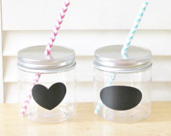 cherishedblessings.etsy.com Plastic Mason Jars with straw lids and chalkboard labels for kids at your wedding. Many lid colors and chalkboard label designs to pick from. 17oz also available.