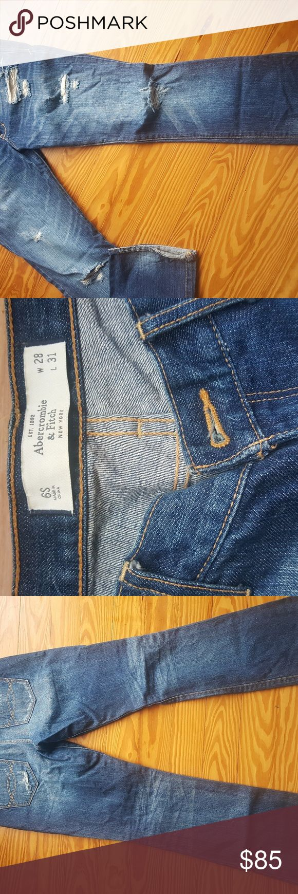 Abercrombie and Fitch Boot Cut Jeans These jeans have never been worn or washed! I just thought I would fit in them some day but they just don't fit right on me. They are distressed and the color looks awesome in person. Abercrombie & Fitch Jeans Boot Cut