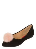 Womens *London Rebel Black Pom Pom Pointed Shoes- Black