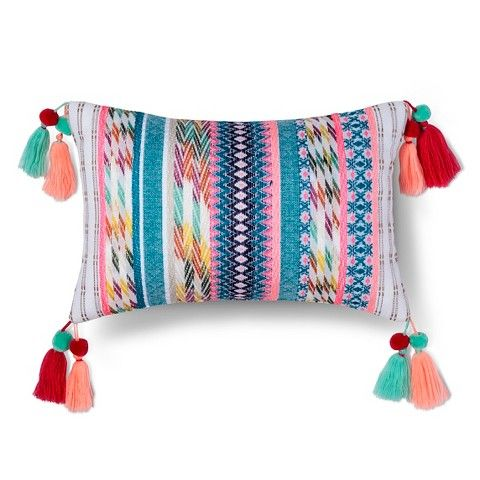 Multicolor Yarn Dyed Texture Tassel Pillow 17 7 Tassels