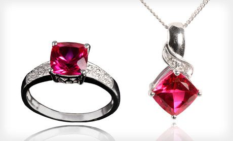 Save 76%.  $19 for Pendant or Ring with Lab-Created Ruby