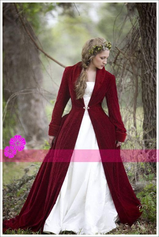 2016 Christmas Burgundy Red Velvet Winter Bridal Cloaks With Long Sleeves V Neck Women Wedding Jackets / Wraps / Coats / Capes / Shrugs Plus Size From Honeywedding, $83.42 | Dhgate.Com