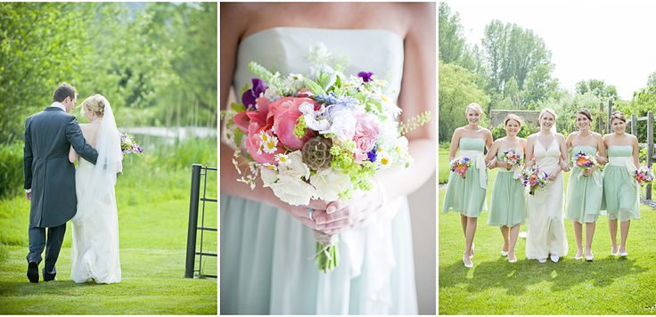 Love these gorgeous bridesmaids in green bridesmaid dresses.  Sussex wedding photography (Grittenham Barn) by www.sarahleggephotography.co.uk