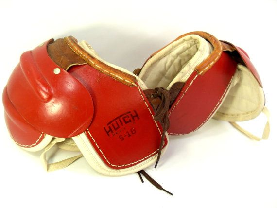 Vintage Hutch Youth Red Leather Football Pads S-18