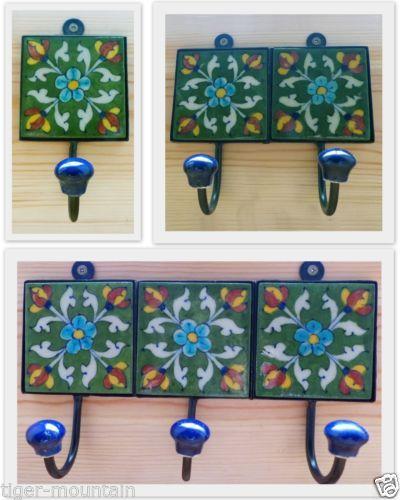 Indian Ceramic Tile Coat Hook Hangers Green With Five Flowers Free Uk P