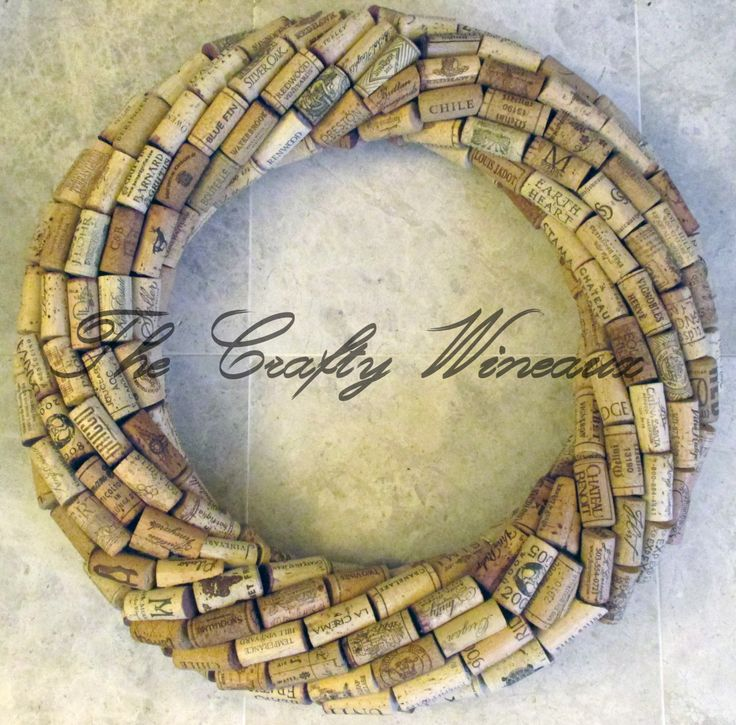 "Large 21"" Handmade Wine Cork Wreath, Without Grapes/No Grapes, Recycled Wine Cork Door Wreath - pinned by pin4etsy.com"