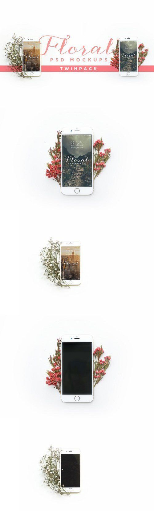 Floral iPhone Mockup Twin Pack 597314