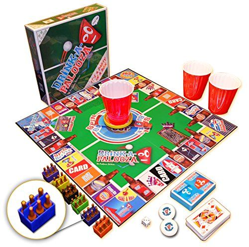 """DRINK-A-PALOOZA: The """"Monopoly"""" of Drinking Games, Board Games, Party Games & Bachelorette Party Gifts featuring Kings Drinking Games, Beer Pong & Flip Cup -"""