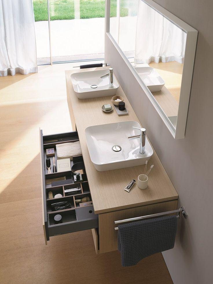 Móvel lavatório duplo suspenso com gavetas L-CUBE | Móvel lavatório duplo - DURAVIT Italia