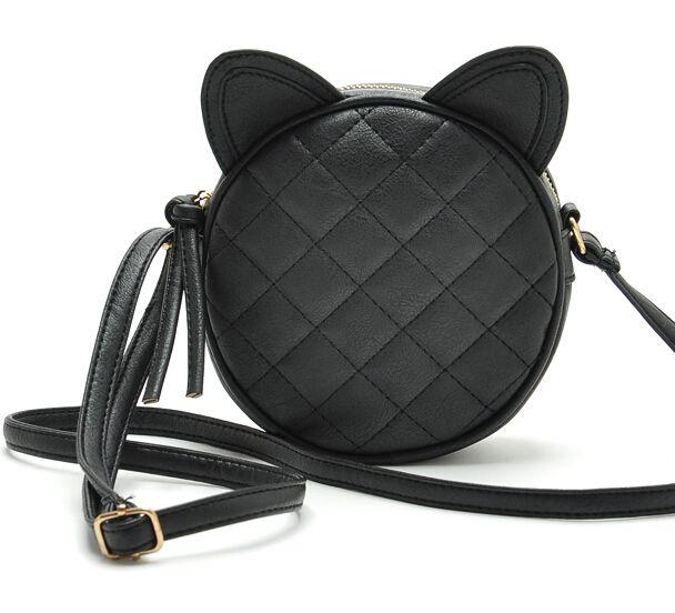 Barato Mulheres PU bolsa de couro de gato rodada pacote Rhombus Rivet…