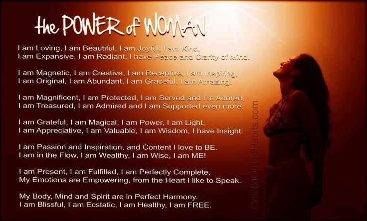 From http://getridofbadhabits.com/ >>> Yes, this is woman... I am woman.