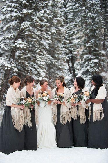 Brinton Studios, winter wonderland wedding, bride with bridesmaids, snowy scene
