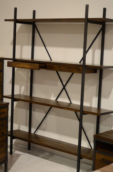 Solid Wood 2 Drawer Shelving Unit